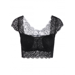 Lace Openwork Padded Crop Top Bra