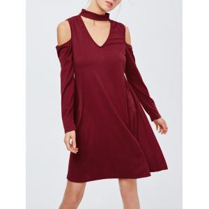 Cold Shoulder Cut Out A Line Club Dress - Wine Red - M