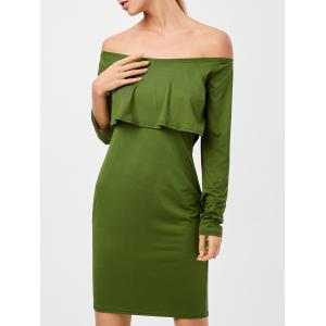 Long Sleeves Flounced Off The Shoulder Dress