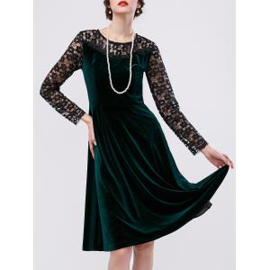 Velvet Lace Sleeve A Line Cocktail Dress