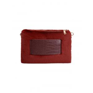 Embossed Panel Fluffy Clutch Bag -