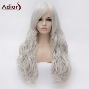 Adiors Long Centre Parting Shaggy Wavy Synthetic Wig - Silver White