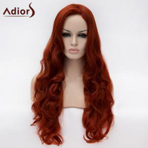 Adiors Long Side Parting Fluffy Wavy Synthetic Wig - Wine Red