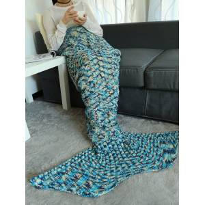 Camouflage Pattern Crochet Knit Mermaid Blanket Throw -
