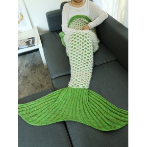 Double Deck Hollow Out Mesh Crochet Knit Mermaid Blanket Throw - Light Green - S