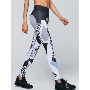 Leopard Print High Waist Leggings - White - S