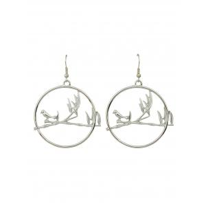 Bird Hoop Drop Earrings - Silver