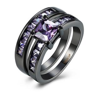 Artificial Amethyst Circle Couple Finger Rings - Purple - 7