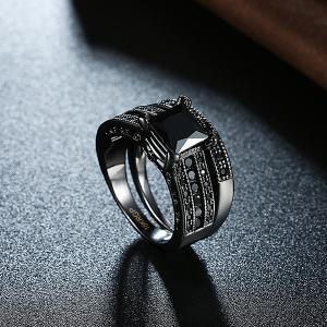 Artificial Gem Circle Rings - BLACK 7