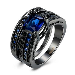 Artificial Sapphire Geometric Rings