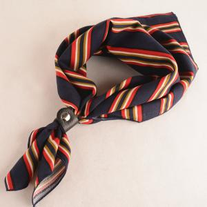 Stripe PU Buckle Small Square Scarf - Purplish Blue