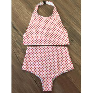 Halter Polka Dot High Waisted Thong Bikini