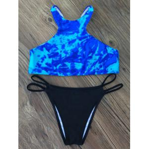 Tie-Dyed High Collar Bikini Set
