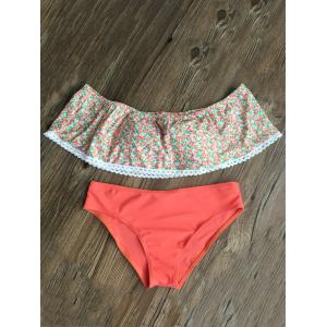 Off The Shoulder Flounce Tiny Floral Bikini