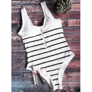 Striped Zip Front One Piece Swimsuit