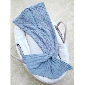 Hollow Out Mermaid Free Knitted Photography Baby Blankets - LIGHT BLUE