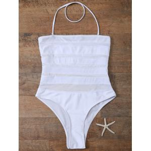 Halter Mesh Panel High Leg One-Piece Swimwear - WHITE M