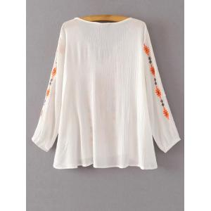 Embroidered Peasant Blouse - WHITE L