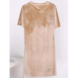 Shift Velvet Short T Shirt Casual Dress - GOLDEN ONE SIZE