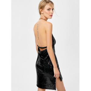Mini Halter Draped Sequin Backless Club Dress - BLACK L