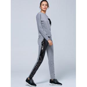 Pocket Sweatshirt and Sequins Jogger Pants - GRAY S