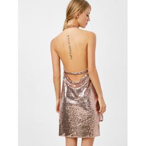 Mini Halter Draped Sequin Backless Club Dress -