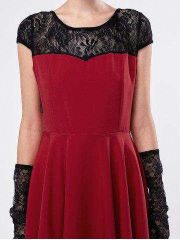 Online Short Sleeve Lace Panel Mini Dress - L DEEP RED Mobile