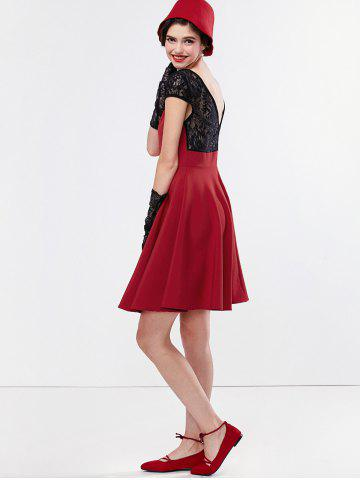 Latest Short Sleeve Lace Panel Mini Dress - L DEEP RED Mobile