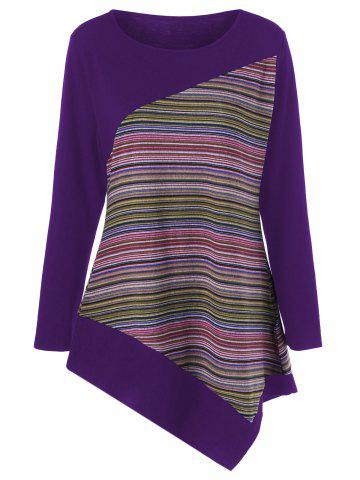 Latest Long Sleeve Colorful Striped Asymmetric Tunic T-Shirt