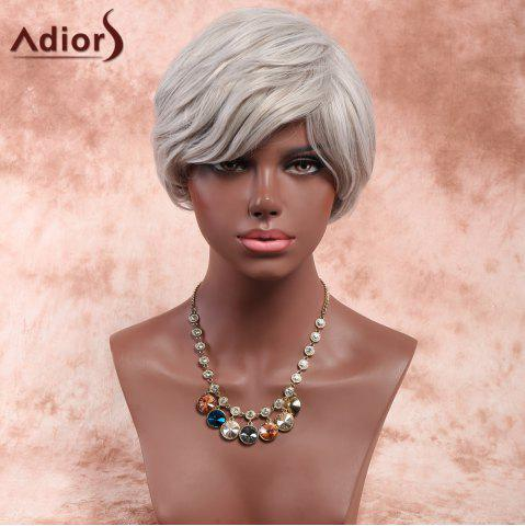 Discount Adiors Short Side Bang Synthetic Fluffy Natural Wave Wig -   Mobile
