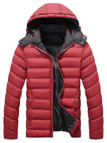 Shop Zip Pocket Hooded Padded Jacket - 2XL RED Mobile