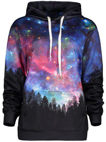 Unique Kangaroo Pocket Forest Galaxy Hoodie