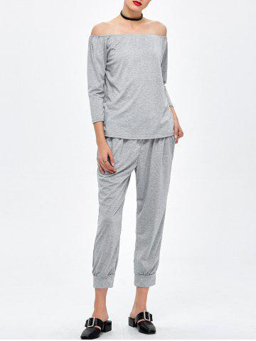 Capri Pants with Off The Shoulder T-Shirt - Gray - S
