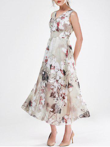 V Neck Sleeveless Floral Chiffon Maxi Wedding Guest Dress - Gray - M