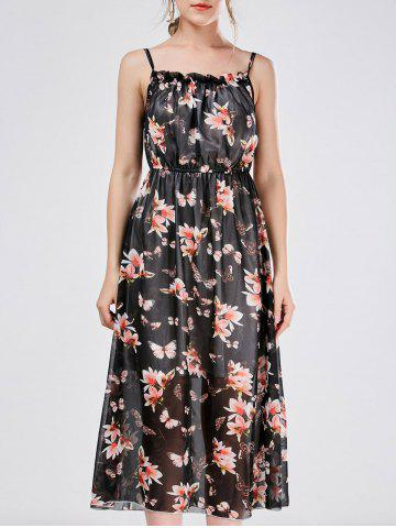 Bohemian Beach Chiffon Cami Floral Print Casual Dress - Black - Xl