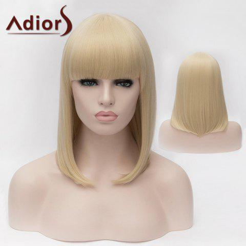 Trendy Adiors Medium Silky Straight Bob Full Bang Synthetic Wig LIGHT GOLD