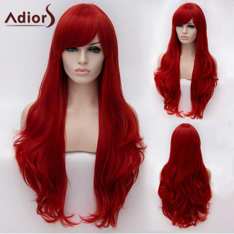 Fancy Adiors Long Inclined Bang Fluffy Natural Wavy Synthetic Wig RED