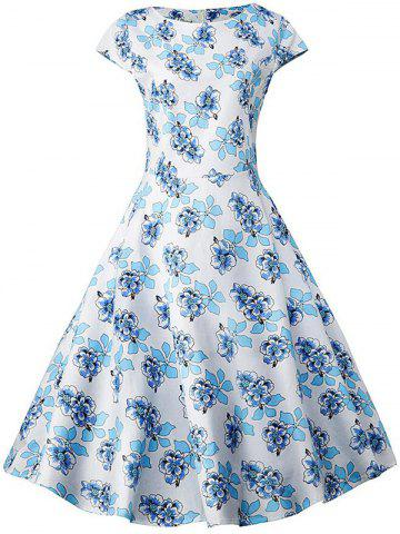 Sale Plus Size Floral Pattern Vintage Dress