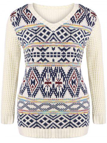 Plus Size V Neck Geometric Pattern Chunky Sweater - Off-white - 2xl