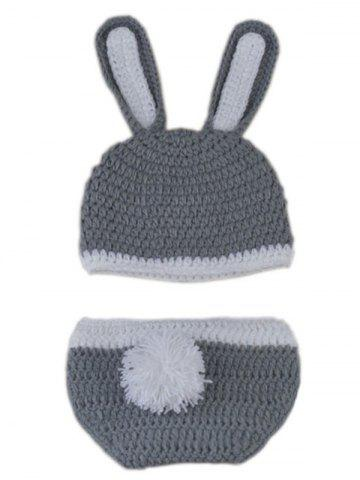 Shops Rabbit Design Photography Clothes Knitted Baby Boy Blankets - GRAY  Mobile