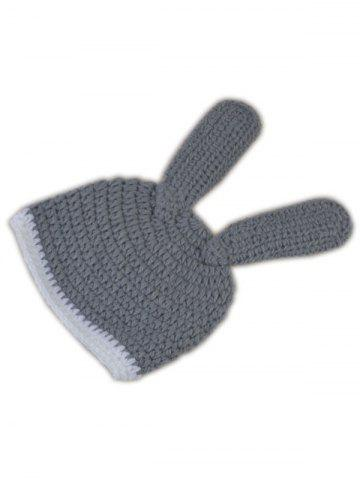 Trendy Rabbit Design Photography Clothes Knitted Baby Boy Blankets - GRAY  Mobile
