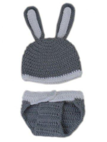Best Rabbit Design Photography Clothes Knitted Baby Boy Blankets - GRAY  Mobile