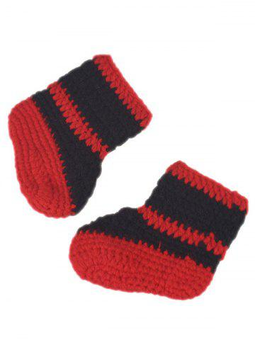 Hot 3PCS Fireman Design Knitted Baby Boy Blankets Photography Clothes Set - RED  Mobile