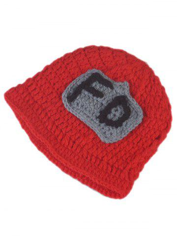 Trendy 3PCS Fireman Design Knitted Baby Boy Blankets Photography Clothes Set - RED  Mobile