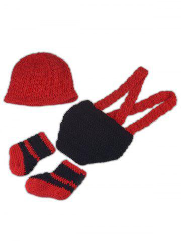 Outfits 3PCS Fireman Design Knitted Baby Boy Blankets Photography Clothes Set - RED  Mobile