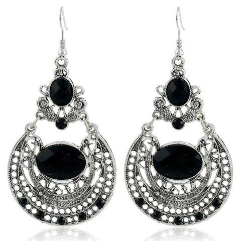 Discount Ethnic Hollow Out Statement Drop Earrings BLACK