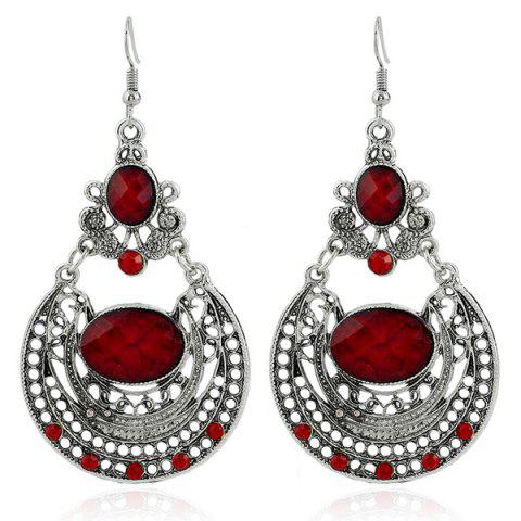 Ethnic Hollow Out Statement Drop Earrings - Dark Red