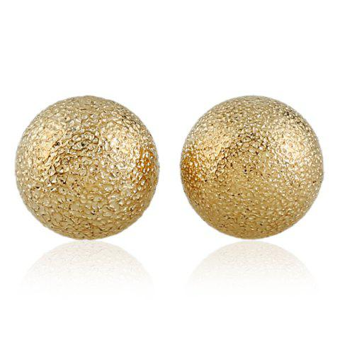 Chic Round Dull Polish Stud Earrings GOLDEN