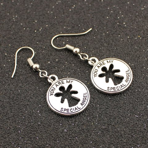 Chic Letter Coin Shape Drop Earrings TB SILVER