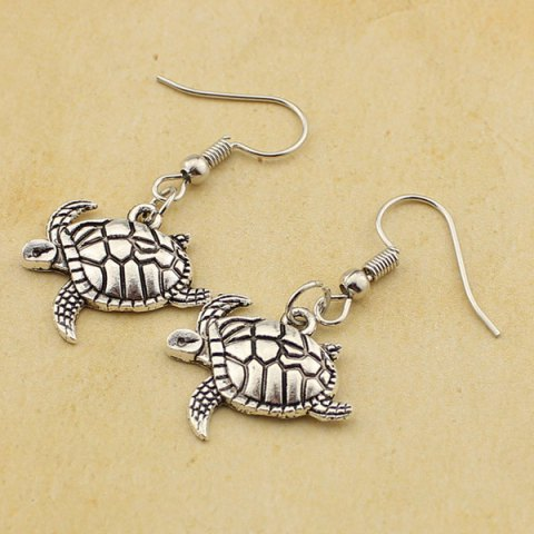 Outfits Carved Tortoise Drop Earrings - TB009 SILVER  Mobile